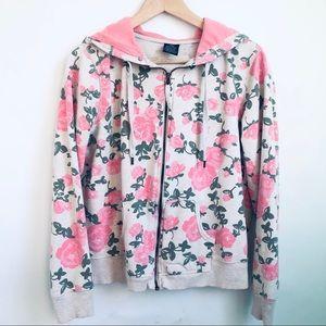 Pink Floral Zip Hoodie
